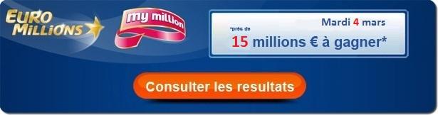 résultat du tirage Euromillions de ce mardi 4 mars 2014