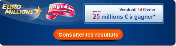 résultat  du tirage euromillion My million de ce vendredi 14 févriier 2014