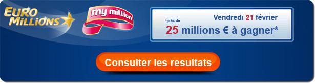 résultat du tirage Euromillions / My million du vendredi 21 février 2014