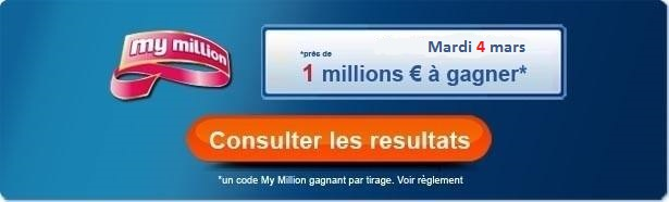 résultat My Million du mardi 4 mars 2014